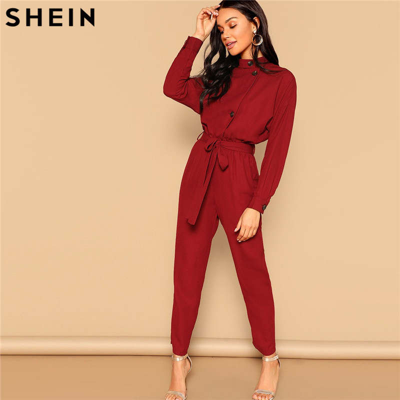 SHEIN Burgundy Button Front Self Belted   Jumpsuit   Elegant Long Sleeve Stand Collar   Jumpsuits   Women Autumn Highstreet   Jumpsuit