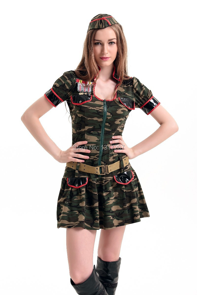 Vocole Women Sexy Sailor Costumes Army Female Officer Uniform Camouflage Mini Dress With Hat