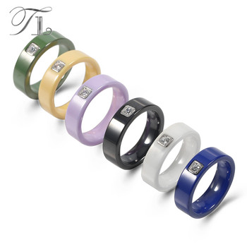 TL 6 Colors Simple Design Ceramic Men's Rings Silver Base Setting Cubic Zircon Ceramic Rings Exquisite Wedding Rings For Women