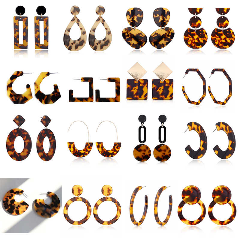 XIYANIKE New Fashion Tortoise Color Leopard Print Acrylic Acetic Acid Sheet Geometric Circle Square Long Drop Earrings for Women