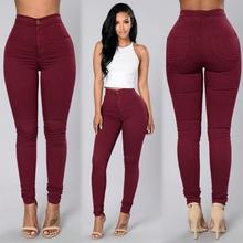 Autumn Women Sexy Tight Trouser Candy Color Pencil Pant Bottoms High Waist Denim Jeans Long Pant Stretch Bodycon Skinny Jeans
