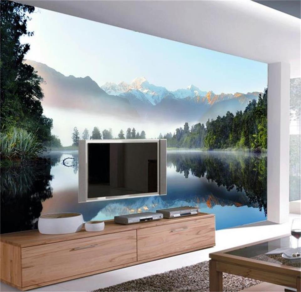 Personalizado Mural Foto 3d Cisne Lago Paisagem Pintura 3d Papel De  -> Mural Parede Sala