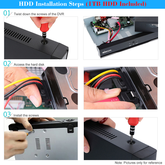 KKmoon Full 1080N/720P 4CH AHD DVR HVR NVR with 1TB Seagate HDD Onvif HDMI DVR Recorder P2P for Security Surveillance System