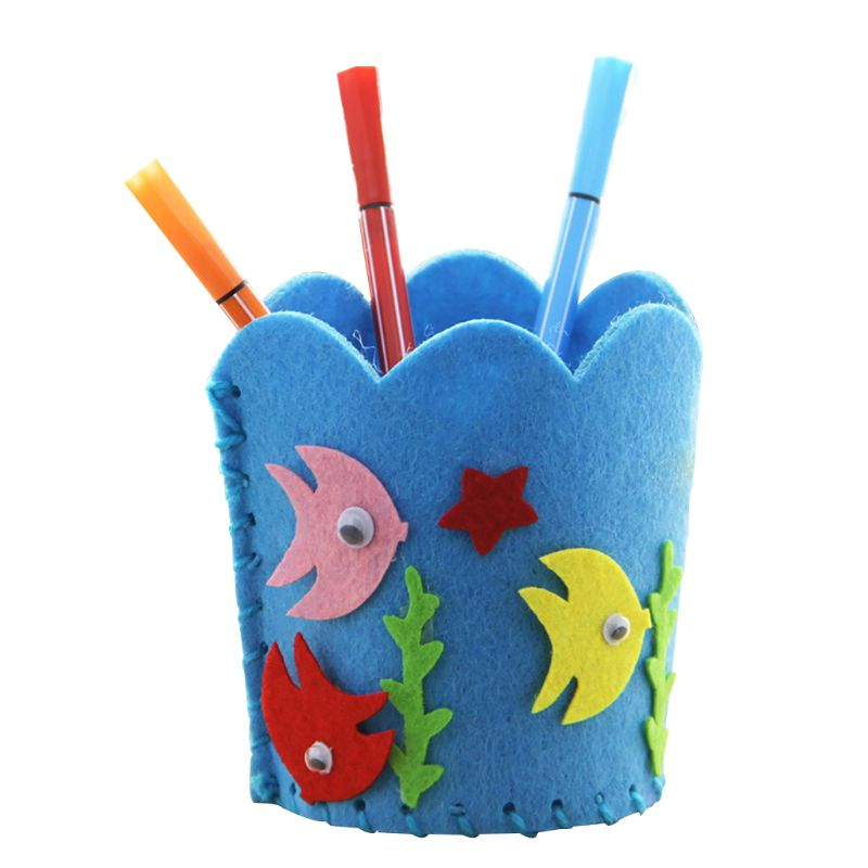 Children Early Childhood Educational Toy Kids Handmade Non Woven Pencil Holder Cute DIY Craft Kit Pen Container