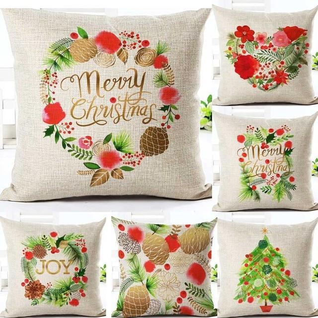 Buon Natale Fodere per Cuscini s In Cotone E Lino Stampato Decorativo Fodere per