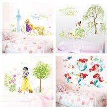 Desenhos animados de neve branca tiana flores da princesa jardim adesivos de parede para crianças decoração do quarto diy anime mural arte da menina decalques de parede