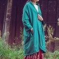 2016 Хлопок Лен Женщины Осень С Длинными рукавами Кардиган Двойной Нерегулярные Плюс Размер Зеленая Кнопка Халат Ретро Пальто