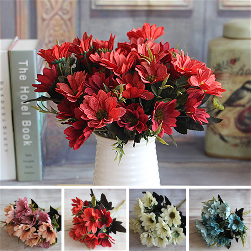 French Rose Floral Bouquet Artificial Peony Flower Arrange Table Daisy Wedding Home Decor Party Red