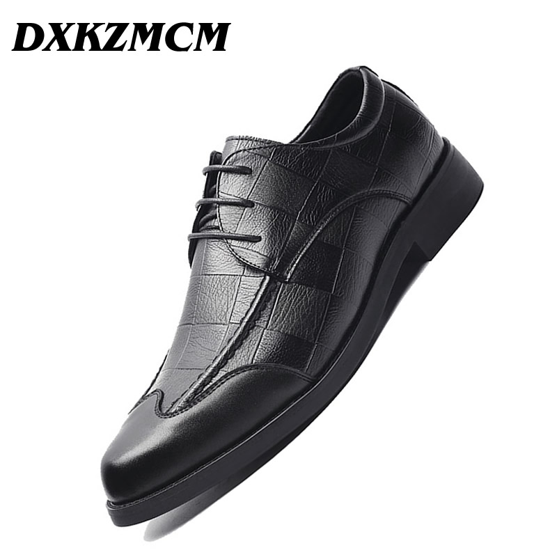 DXKZMCM Men Dress Shoes Leather Oxford Shoes Lace Up Casual Business Formal Men Shoes Brand Men Wedding Shoes