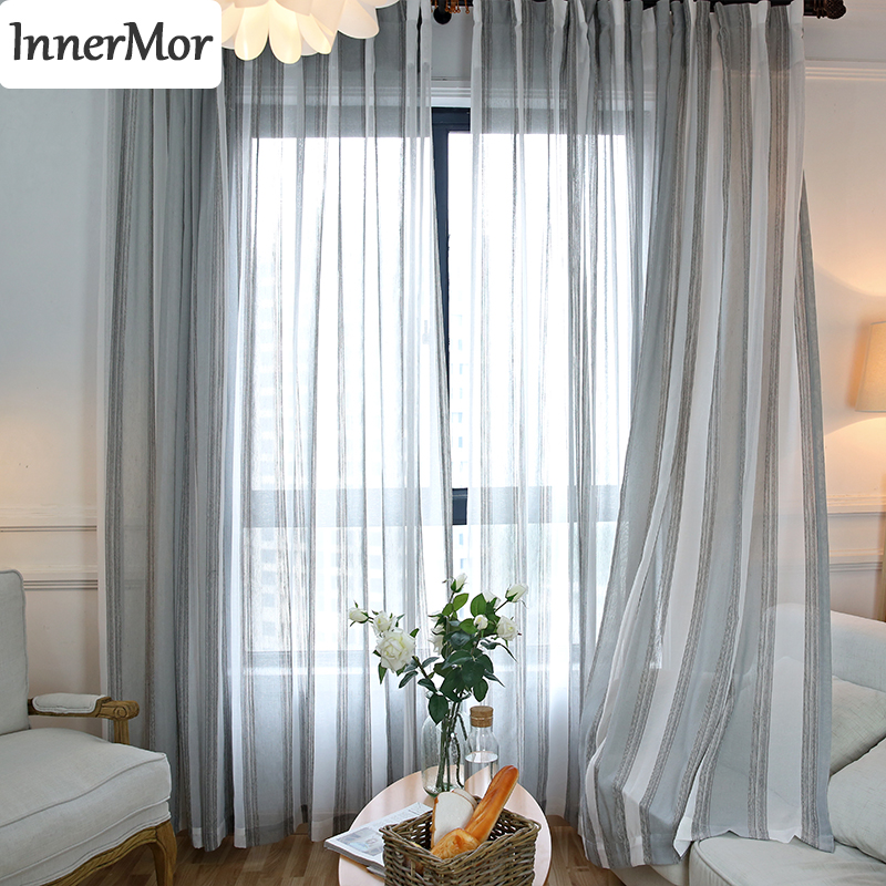 Linen Stripe Kitchen Curtains: Innermor Striped Jacquard Curtains For Living Room Simple