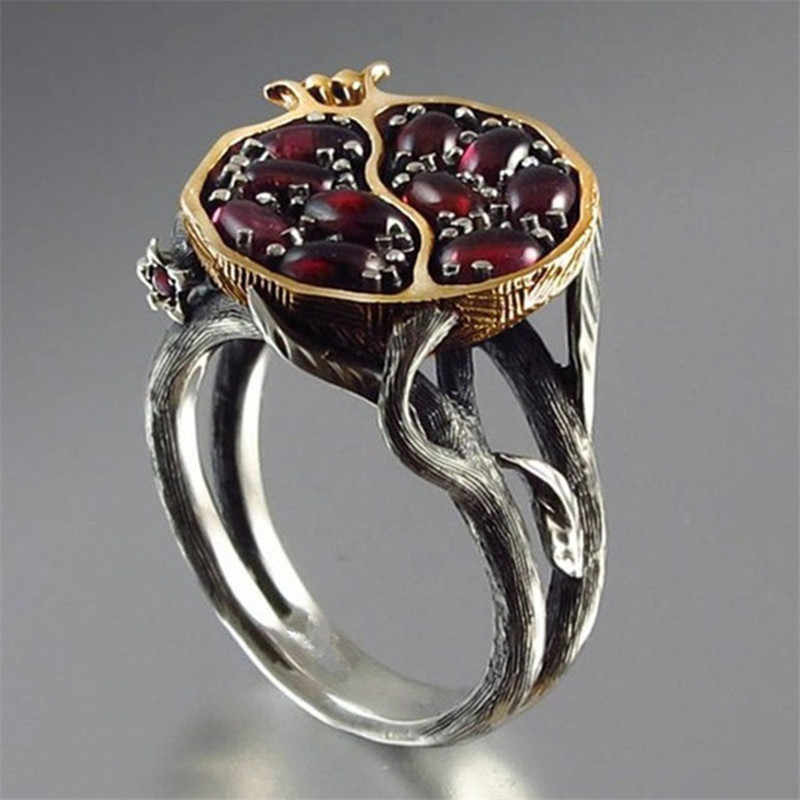 CANNER hueco granate Vintage anillos para Mujer Accesorios de joyería rojo oscuro ovalado corte sólido compromiso ratán fruta anillo Punk R4
