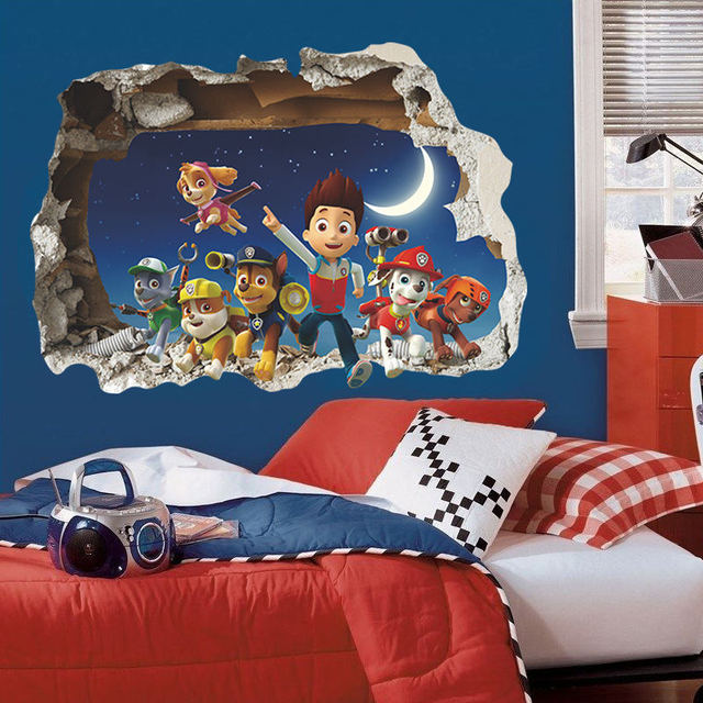 3D Cartoon Paw Patrol Snow Slide Wall Stickers Home Decor Kids Room Decoration PVC Diy Art Game Poster