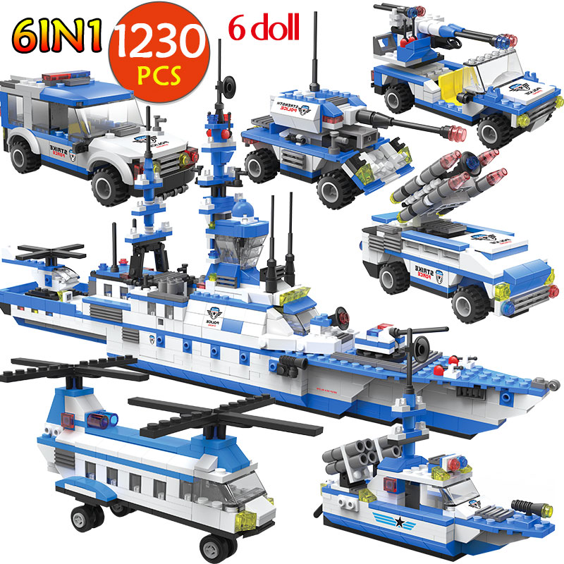 1230PCS Military City Police 6IN 1 Building Blocks Transport Aircraft Warship Car Truck Army WW2 Bricks Children Toys