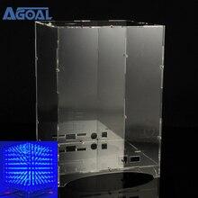 투명 아크릴 쉘 상자 케이스 커버 스탠드 하우스 8x8x8 LED 큐브 3D 라이트 스퀘어 블루 LED 전자 DIY 키트