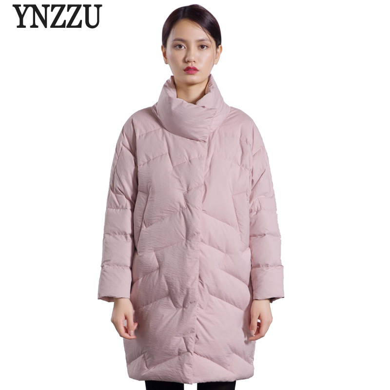 YNZZU 2018 Autumn Winter Womens Jacket Elegant Stand Collar Warm 90% White Duck Down Coats Japan Style Loose Woman Outwear O603