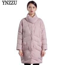 YNZZU 2018 Autumn Winter Womens Jacket Elegant Stand Collar Warm 90% White Duck Down Coats Japan Style Loose Woman Outwear O603