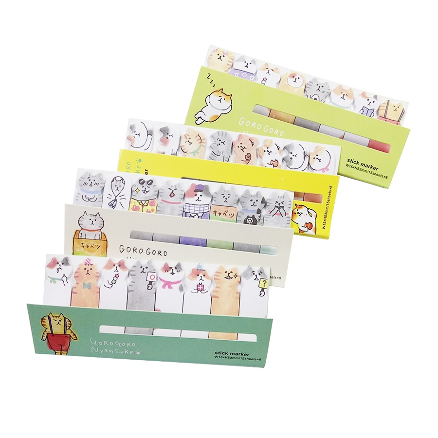 1 Pack/lot Bookmark Mini lovely Cartoon Stick Marker Post it Notes Cute Cat Memo Pad Reminder Notes For School Office Supplies 5 pcs lot 100 sheets fluorescent color sticky notes for marker classification macaron memo pad post office school supplies a6971