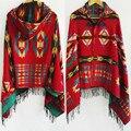 Multifunción étnico Bohemio Mantón de La Bufanda Tribal Fringe Hoodies Chaqueta Chaquetas de Punto a rayas mantas mantón Del Cabo Del Poncho con la borla