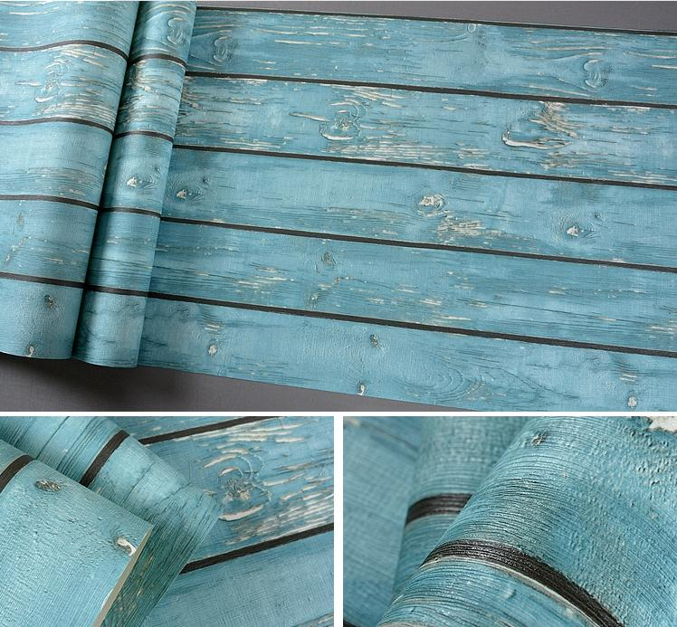 Vintage Blue Weathered Wood Look Grain Slab Pvc Wallpaper Rolls Background Wall Decorative Rustic Country Barn In Wallpapers From Home Improvement