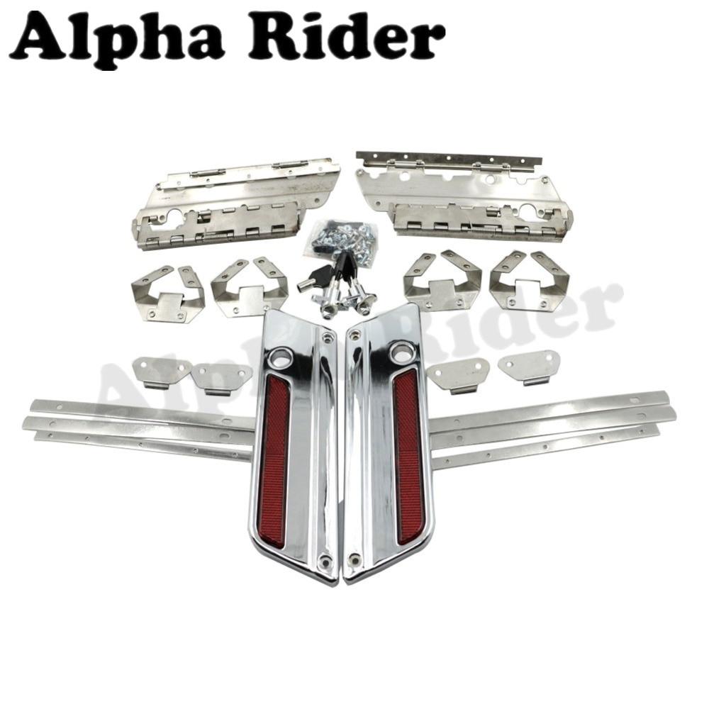 Hard Saddle Bag Saddlebag Latch Cover Reflector w/ Lock Key for Harley Touring Street Electra Glide Road King FLT FLH 1993-2013