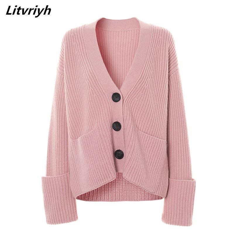 Женский кашемировый свитер Litvriyh, плотный кардиган с v образным вырезом, теплый вязаный кардиган на осень и зиму