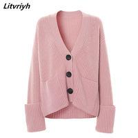 Litvriyh autumn winter cashmere sweater women cardigan v neck thick women sweaters female cardigans warm female knitted coats