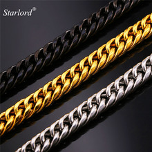 Starlord Stainless Steel Men's Chain Cool American Style Hip Hop 9MM Gold Color Big Long Chunky Necklace Men Jewelry GN2239(China)