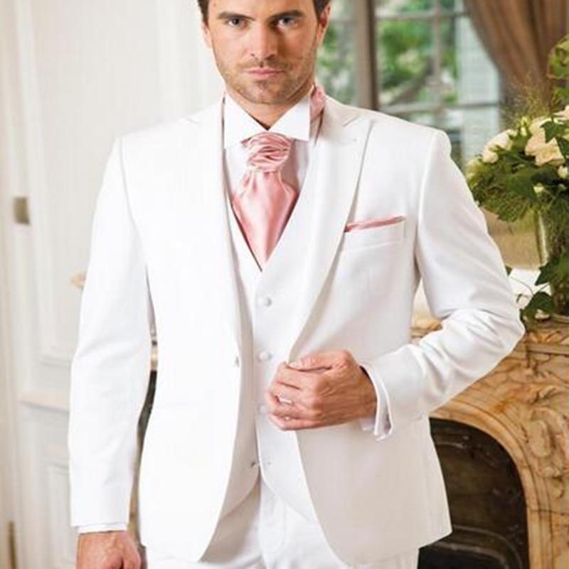 Custom Groom Tuxedos Peak Lapel Men's Suit White Groomsman