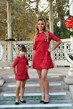 Mommy and me family matching mother daughter lace dresses