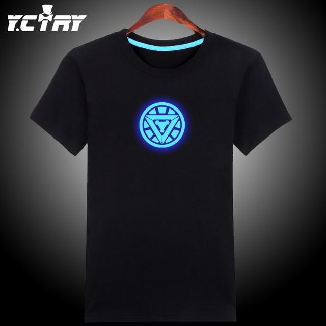 Серебристые, Световой, Glow в темно-синий/зеленый летний стиль Ночной Клуб Новинка ironman футболка хлопок железа человек майка GC914