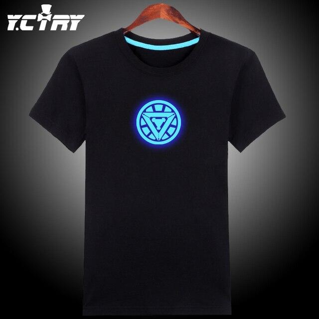 Noctilucentes, Luminoso, Brilho no escuro azul/verde estilo Night Club Novidade ferro ironman t-shirt de algodão de verão homem camiseta GC914