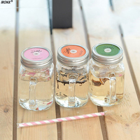 Transparent Carrying Cover Cute Water Bottles Summer Ice Cream Fruit Installed Cold Drink Bottle Home Camping