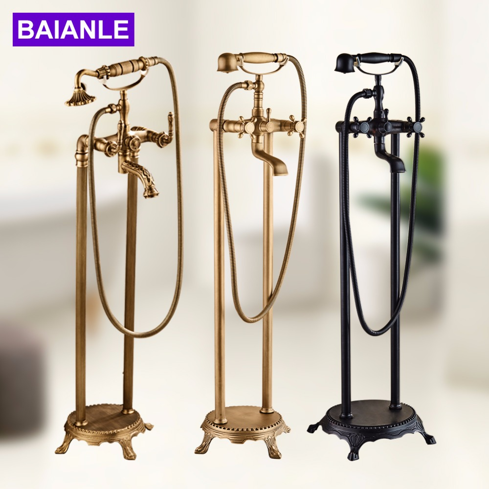 Sitting Antique Brass Hot and Cold Bathroom Freestanding Bathtub Sink Mixer Faucet-Double Handle Tub Faucet with Handheld Shower solid brass bathroom sink tub faucet double handle hot