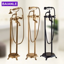 Sitting Antique Brass Hot and Cold Bathroom Freestanding Bathtub Sink Mixer Faucet-Double Handle Tub Faucet with Handheld Shower rolya cubix floor standing bathtub shower mixer faucet taps freestanding brass chrome finish handheld wand with bathtub filler