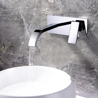 Brass Basin Faucets Wall Mounted Waterfall Sink Faucet Chrome Finished Bathroom Mixer Tap Hidden Taps With Embedded Box