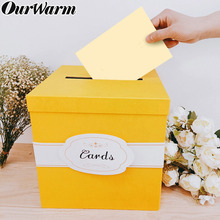 OurWarm Gold Wedding Gift Card Paperboard Box Money Box Beautiful Wedding Decoration Supplies for Birthday Party 26cm*26cm*26cm цена и фото