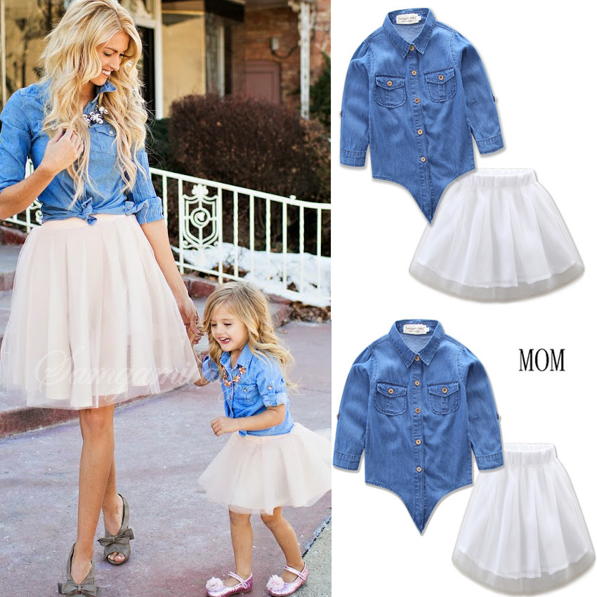 da03de4c17 Family Matching Outfits Denim Shirt+skirt 2 Pieces Set Mother Daughter  Clothes Cotton Blouse Lace Tutu Skirt Robe Mere Fille