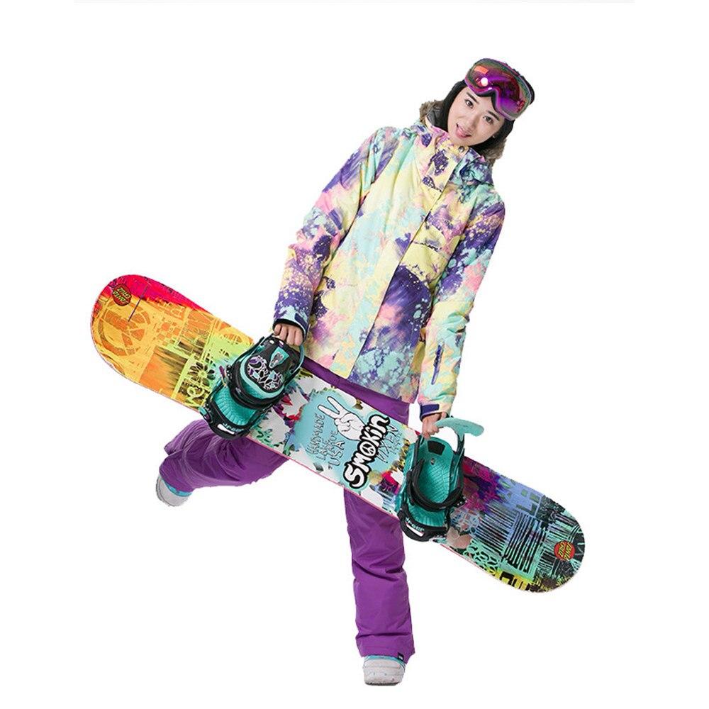 GSOU marca de nieve chaqueta de esquí traje de esquí de las mujeres impermeable Snowboard chaqueta de abrigo de invierno con capucha de piel caliente al aire libre de nieve esquí - 6