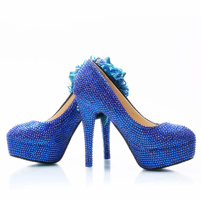 placeholder Wedding Dress Shoes Royal Blue Color Rhinestone Party Prom High  Heel Shoes Handmade Lady Anniversary Party 9ffea1cf3ce9