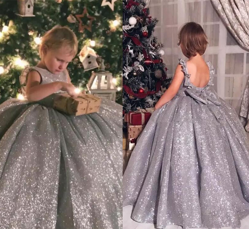 Sliver Sequins Backless Girls Pageant Dress Ball Gown New Flower Girls Dresses for Wedding Birthday Party Gown Custom Made luxury blue appliques girls pageant dresses ball gown children birthday wedding party dress teenage princess gown custom made
