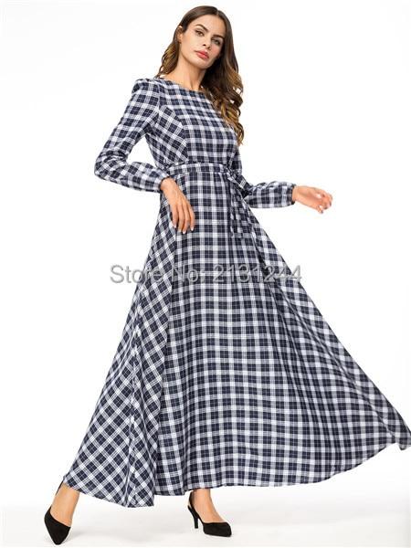 Elegant Plaid Abaya Maxi Dress Long Sleeve Muslim Long Robe Gowns Tunic  Vestidos Kimono Middle East Ramadan Islamic Clothing. Size muslim dress605  muslim ... d63eba765