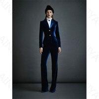 Темно синие женские бархатные деловые костюмы офисный костюм униформа дизайн Женская рабочая одежда 2 шт. Определите тонкий