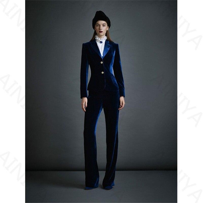 Dark Blue Womens Velvet Business Suits Office Suits Pant Uniform Designs Womens Work Wear 2 Piece Define Slim