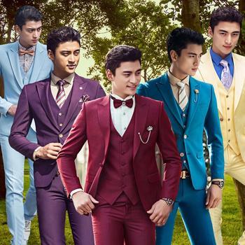 Male slim mens suits set formal dress men's clothing singer dance stage wedding suits for men latest coat pant designs S - 2XL