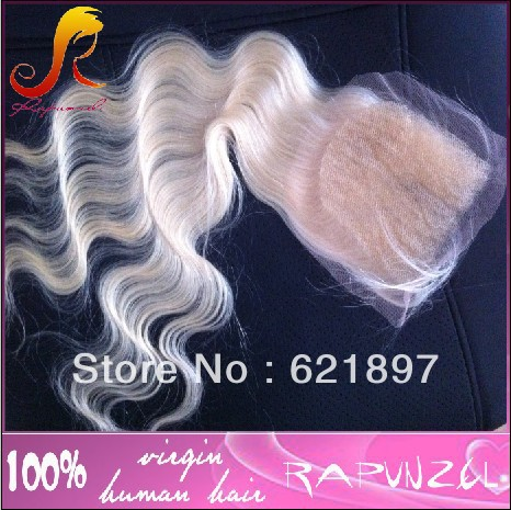 #613 Blonde Peruvian hair Body wave lace closures