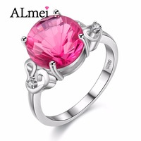 Almei 5ct Topaz Diamond Rings Jewelry 925 Sterling Silver Engagment Ring With A Natural Stone Anillos