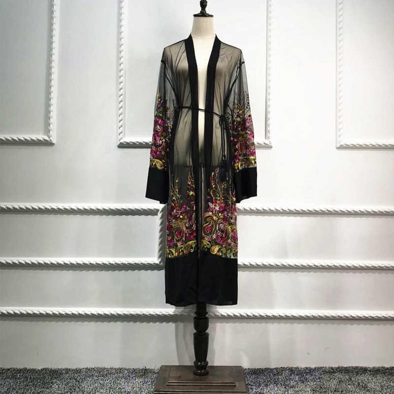 Большие размеры длинное кимоно Mujer 2019 Сексуальная Абая, для мусульман женщин Цветочная вышивка шифон сетчатый кардиган блузка женская одежда