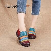 Tastabo בלט נעליים מקרית נעלי עור אמיתיות נשים דירות גברת נעלי אחות דירות בטלן נוח אמא בהריון גמיש