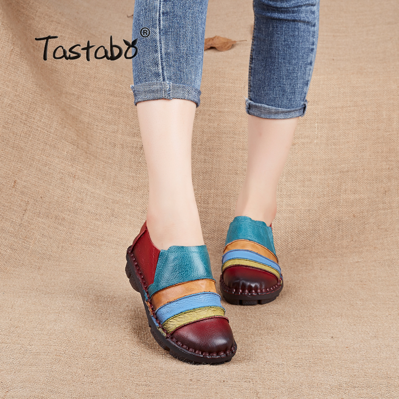 Tastabo Ballet Casual Shoe Women Genuine Leather Shoes Flats Flexible Nurse Loafer Flats Comfortable Mom Pregnant Shoes Lady plardin new summer plus size women cutouts genuine leather mom shoes comfortable sewing buckle flats nurse casual ballet flats