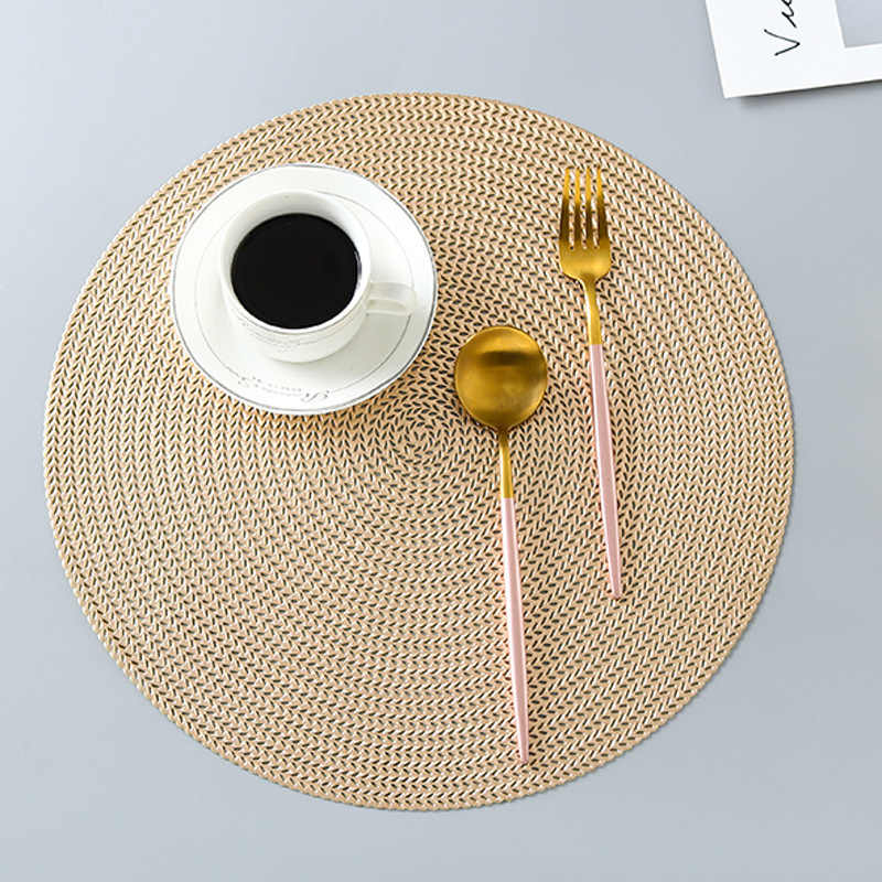 1PC Round Coaster Insulation Table Mats Pads Plastic Table Placemat Non-slip Mats Coffee Tea Place Mats Kitchen Decoration